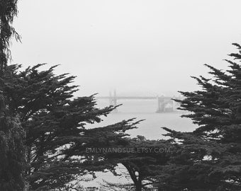 San Francisco, black and white photography, Golden Gate Bridge, photography, print, Northern California, fog, mysterious, wall art decor
