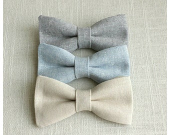 FREE SHIPPING!*...Newborn Bow Tie, Toddler Bow Tie, Neutral Boys Bow Tie, Blue Boys Bow Tie, Gray Boys Bow Tie, Clip on Bow Tie, Ring Bearer