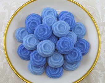 36 Blue Open Rose shaped sugar cubes for tea party, shower, party favor, wedding sugar, bridal sugar, hostess gift