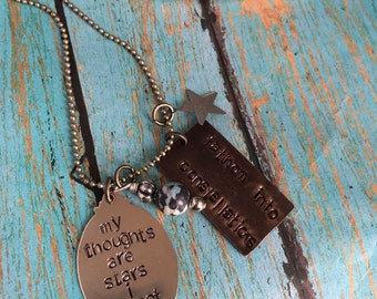 My Thoughts are Stars I Cannot Fathom into Constellations Metal Stamped Charm Necklace