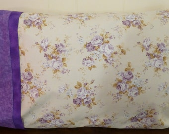 Cotton Pillowcases, Bedroom Decor, Pillow Slips, Bedding, Package of 2 Pillowcases, Purple Floral, Fast Shipping