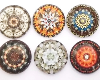 Mandala Magnets, Glass Magnets, Refrigerator Magnets, Fridge Magnets, Decorative Magnets, Mandalas Magnets, Kaleidoscope Magnets, Set of 6