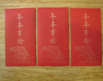 3 Chinese Red Envelopes, handmade, barramundi fish, nian nian you yu