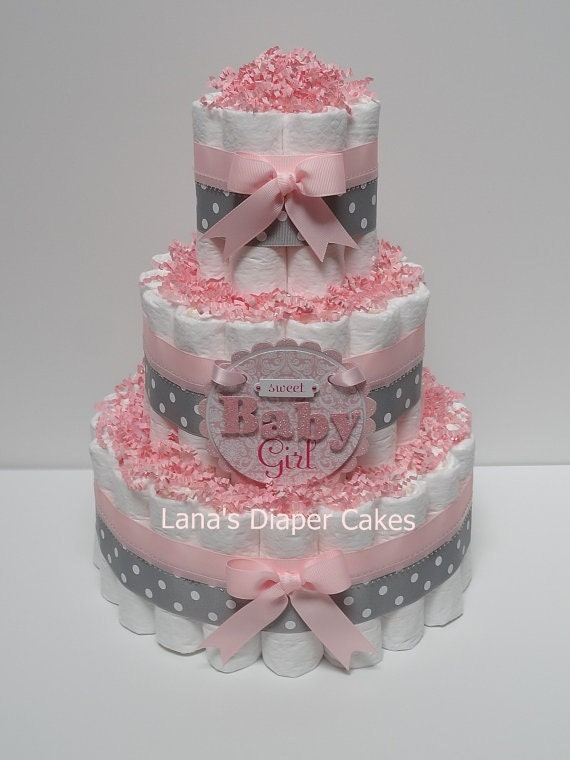 Baby Showers Diaper Cakes ~ Tier baby girl pink and gray diaper cake shower