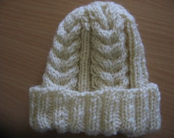 Sale 25% Knit Cable Baby Hat. Wool Knitted Baby Hat. Ivory Baby Hat. Size: Newborn - 6 months.