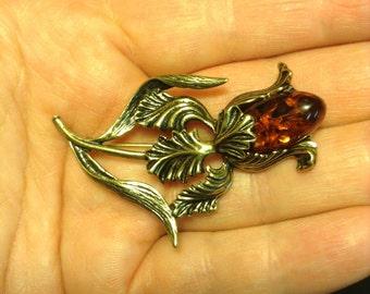 Flower Brooch amber brass. Russia, handmade.