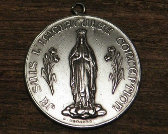 Antique French silver marked religious medal pendant Glory to the Holy Trinity