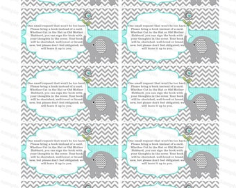 Insert for Elephant Baby Shower Invitation Bring a Book Instead of a Card - instant download (01bt)