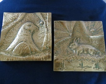 Antique Architectural Salvage Hammered Brass Folk Art Tiles