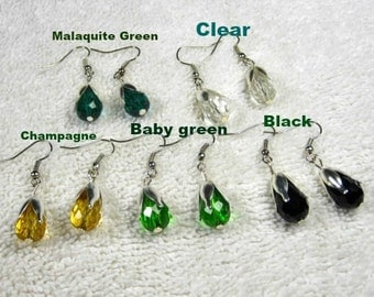 20 Discount/Swarovski Style Crystal Quartz Faceted Teardrop with sliver flower bead cap./cheap/affordable/ discount/big sale