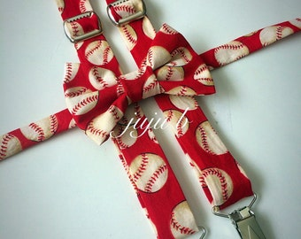 Baseball Bow tie and suspenders set, baseball bow tie, baseball suspenders, sports bow tie, red bow tie, red suspenders