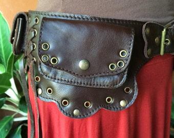 Burning Man Utility Belt / Fanny Pack / Leather Festival Belt / Pocket Belt / Steampunk Belt Bag / Purse Belt / Leather Belt Pouch