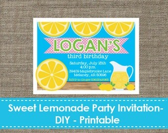 Sweet Lemonade Party Invitation - DIY - Printable - Sparklestudio