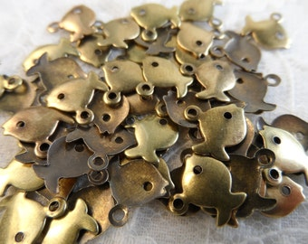 "Small vintage  gold plate brass fish charms,3/8th"",50pcs-CHM222"