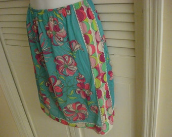1960s  Emilio Pucci EPFR  Half Slip ABSTRACT Print Multi Color Or Skirt Pucci Sig Size M 8 10
