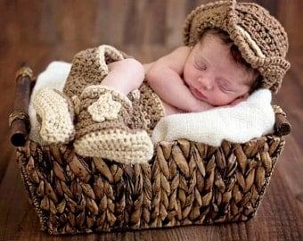 Crochet Newborn Baby Cowboy Hat & Boots Photo Prop Outfit Set Shower Gift Keepsake 0-3 Months