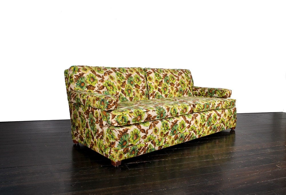 Vintage Green Yellow And Brown Floral Sofa Haute Juice