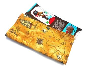 "Pirates Life for Me Double Sided Lunch Cloth Napkins -Set of Brown 8.5x8.5"" Napkins"