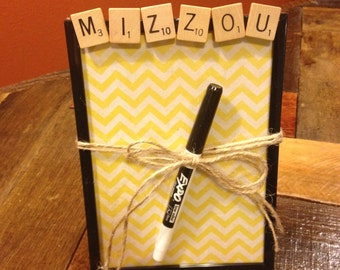 MIZZOU, Dry Erase Board, Message Board, 5x7, Chevron, Gift for College students, roommate gift, dorm, Graduation Gift, 5x7
