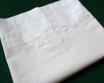 Vintage off white Pillowcase Hand Embroidered decorative Hemstitch pillow case cover Whitework 60s