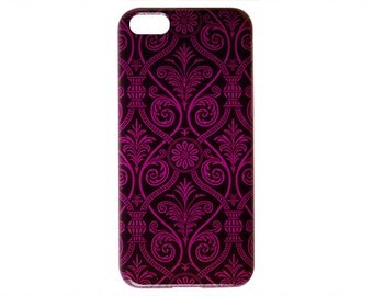 Ultra Thin Phone Case Pink Damask Design Style Phone Case for iPhone 6 / 5s / 5c / 4s / 4 Quality Back Cover Cute Modern Print c285