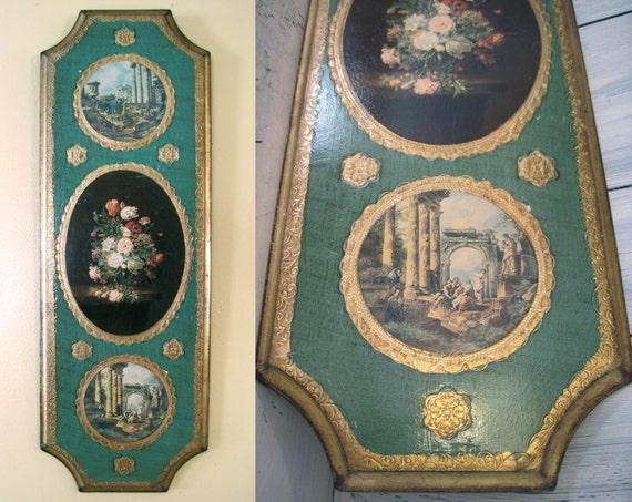 Vintage tenture murale verticale en bois avec peinture for Decoration murale verticale