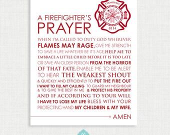 Firefighter Wall Decor Printable Wall Art- Firefighter Prayer - Firefighter Art - Wall Decor  - Firefighter