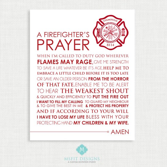 Firefighter Wall Decor Printable Wall Art- Firefighter Prayer - Firefighter Art - Wall Decor  - Firefighter