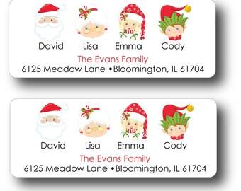 30 Family Christmas Return Address Sticker Labels