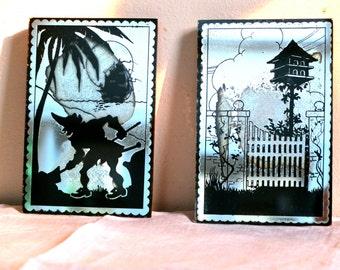Vintage mirror silhouettes / christmas gift / decorative mirrors  kid's decor