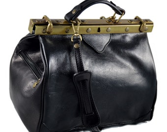 Ladies leather handbag black doctor bag handheld shoulder bag black brown dark brown made in Italy