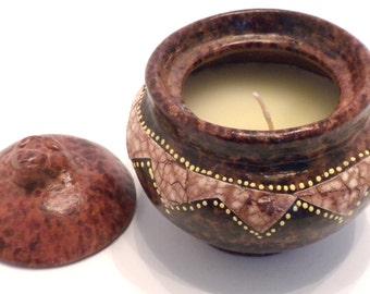 Terracotta Candle Holder Honey Pot