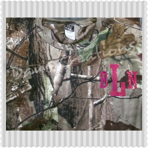 Monogrammed camouflage t-shirt - custom monogram camo shirt - camo hunting t-shirt - women's camo shirt - monogram camouflaged shirt