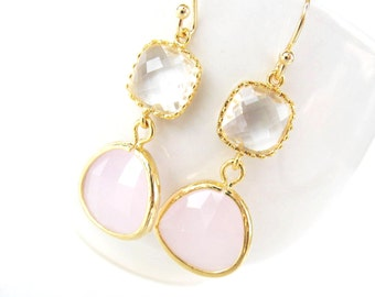 Pink and crystal earrings in gold Pink glass drop earrings Pink bridesmaids earring blush bridesmaid earring white and pink bridesmaids gift