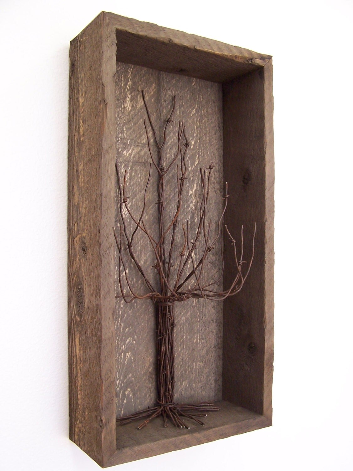 Barnwood rustic western shadowbox decor with barbwire tree for Barnwood decor