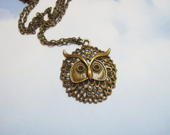 LARGE OWL NECKLACE on a bronze chain - long owl necklace