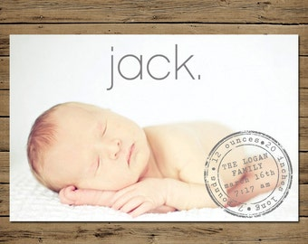 Baby Boy Announcement - Custom Photo Birth Announcement - Printable - Stamp