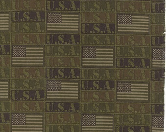 OOAK #964 -  18 x 44 - Because of the Brave USA Army Green Fabric -32953 15