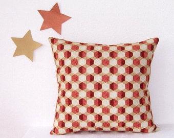 "18"" Decorative Accent Pillow Cover, Williamsburg Rust Tan Beige Pillow, Cinnamon Squares Sofa Toss Cushion Cover"
