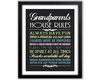 Gift For Mimi, Christmas Gift For Grandparents, Chalkboard House Rules, Christmas Gift Idea For Grandparents