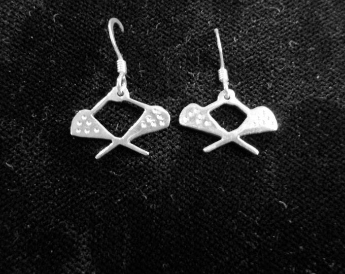 Lacross earrings w/sterling silver ear wires dime size