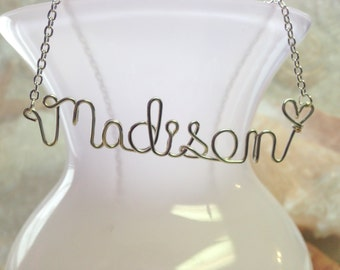 Name necklace, Personalized necklace, wire wrapped necklace, wire wrapped name, name, personalized name necklace, personalized jewerly