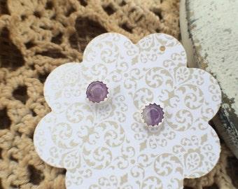 Bezel Set Amethyst Silver Earrings