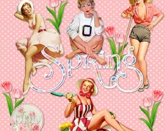 12 Spring Vintage Pinup Girls   Gardening Flowers Yard Work   Clipart Instant Download