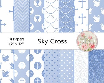 Blue Cross Digital Paper Pack | Christening | Wedding | Baptism | Communion | Confirmation | White | Instant Download