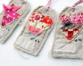 Heart shabby cloth gift tags