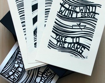Limited Box Set of 27 Linocut Prints and a copy of 'If The Wind Won't Serve' Book / Zine featuring 25 of the prints