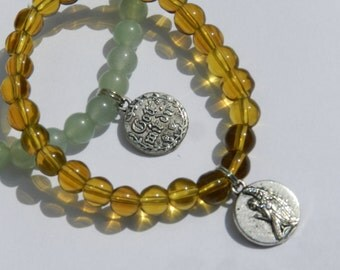 "Catholic Jewelry Praying Angel Charm Bracelet Latin ""Gott mit dir"" Child Size  First Communion Gift, Baptism, Birthday Bracelet Gift"