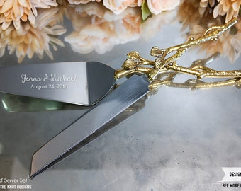 Personalized Wedding Gold Leaf Cake Knife and Server Set - (2pc) Custom Engraved Rustic Gold Cake Knife and Server Cake Cutter Wedding Gift