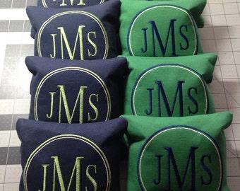 8 CORNHOLE BAGS Custom Embroidered: Monogramed